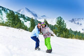 Two friends  on snowboards — Stock Photo