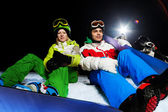 Two friends   with snowboards — Stockfoto