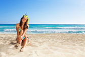 Girl  after scuba diving — Stock Photo