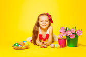 Girl  with tulips, eggs — Stock Photo