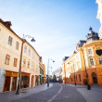 ������, ������: Strada Nicolae Balcescu in sunshine Sibiu city