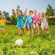 Playful friends running to the ball in field — Stock Photo