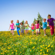 Running children holding hands in meadow — Stock Photo