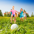 Group of kids running to the ball in meadow — Stock Photo #48546515
