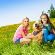 Two girls sitting near to dog on green grass — Stok fotoğraf #48546609