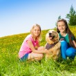 Two girls sitting near to dog on green grass — Stockfoto #48546609