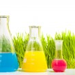 Colorful liquids in three different test tubes — Stock Photo