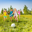 Group of children running to the ball in meadow — Stock Photo #48546949