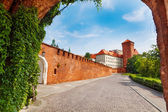 Wawel Royal Castle view from the gates — Stock Photo