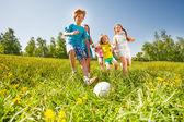 Šťastné děti hrají fotbal na zelené louce — Stock fotografie