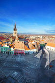 Stair's Tower and Sibiu old town view from top — Stock Photo