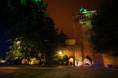 St. Florian's Street gates at night in Krakow — Stock Photo