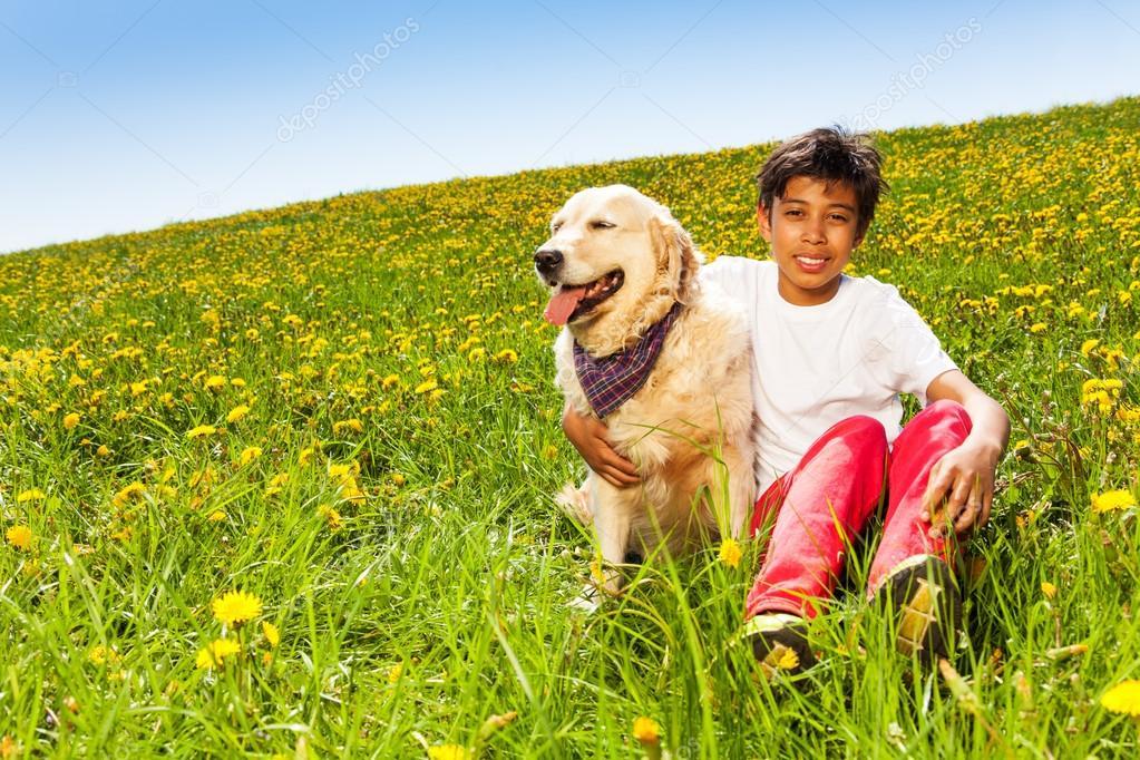 Cute Dog Smiling Smiling Boy Hugging Cute Dog