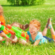 Постер, плакат: Children with water guns