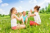 Girls on  meadow — Stock Photo