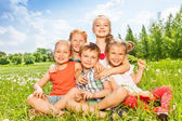 Kids  on a meadow — Stock Photo