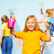 Girls painters against wall — Stock Photo #49945001