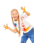 Girl shows her painted palms — Stock Photo