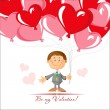 Romantic card for Valentine's Day. Boy and many balloons in the shape of heart. — Stock Vector