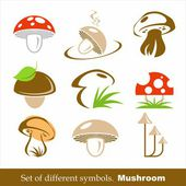 Set of vector symbols mushroom. — Stock Vector