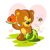 Card Valentine's Day. teddy bear and a slice of watermelon in a heart shape. — Stock Vector