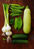 Fresh green vegetables and herbs — Stock Photo