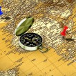 Map, compass and pushpin — Stock Photo