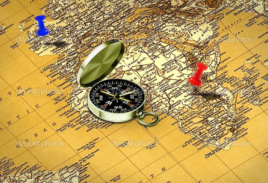 Map, compass and pushpin  Stock Photo #13926663