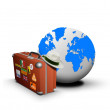 Suitcase and globe — Stock Photo
