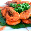 Stock Photo: Prawn on whiteplate