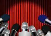 Press conference with microphone — Stock Photo