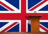 Podium und britische flagge — Stockfoto