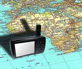 GPS equipment on the map — Stock Photo