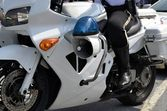 Police Man Riding on Motorbike — Stock Photo