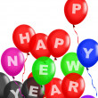 Happy New Year Balloons Floating — Stock Photo
