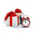 Gift Boxes with Santa Hat and Clock — Stock Photo