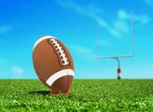 Football Ball on Kicking Tee with Goal Post — Stockfoto