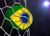Brazil Ball in Goal Net — Stock Photo