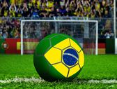 Brazil Ball with Goal Post and Crows — Stock Photo