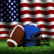American Football with Helmet and Flag — Stock Photo