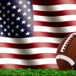 Football Ball on Grass with American Flag — Stock Photo