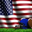 Football with American Flag Background — Stock Photo