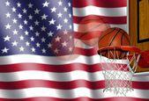 Basketball mit der amerikanischen flagge — Stockfoto