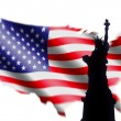 American Flag and Statue of Liberty — Stock Photo