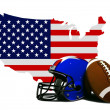 American Football with Flag and Map — Stock Photo