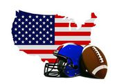 Americký fotbal s vlajka a mapa — Stock fotografie