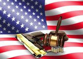 Gavel and Hand Gun with American Flag — Stock Photo