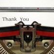 Typewriter Close Up with Thank You Word — Stock Photo