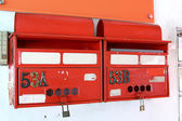 Red letterboxes, Singapore — Stock Photo