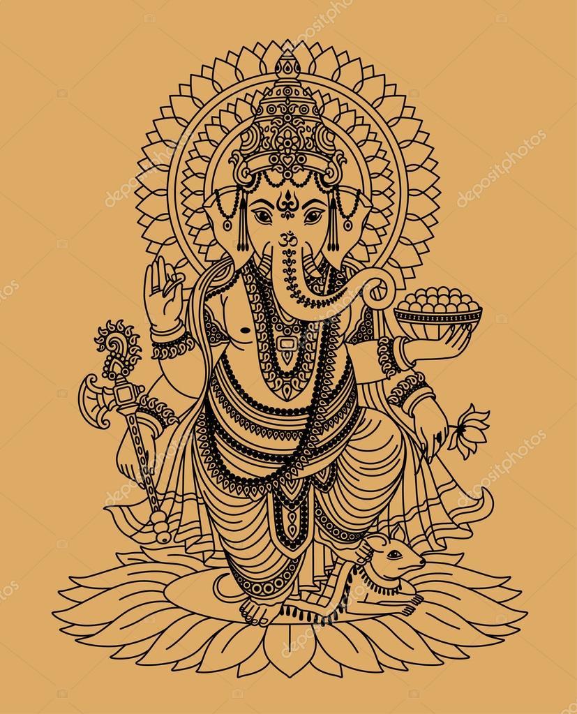 Indian god Ganesha — Stock Vector © svetik #12086608